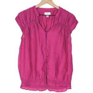 Loft Blouse Top Small Raspberry Ruffle Cap Sleeves